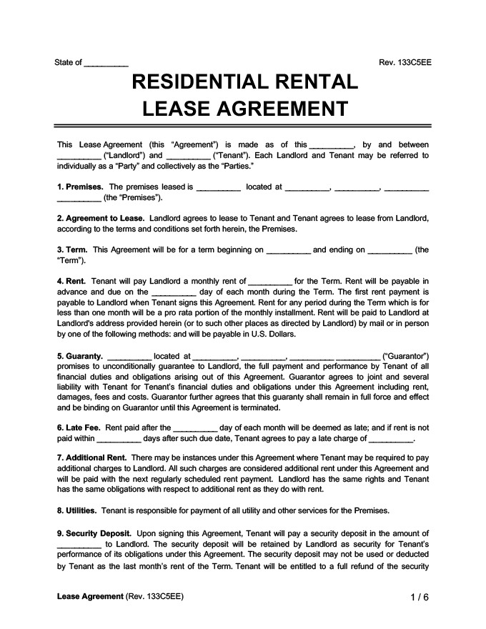 The contract must include specific details such as the monthly rent and the responsibilities of each party. Free Rental Lease Agreement Forms Word Pdf Templates