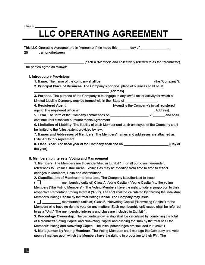 Resolutions of the members of a california limited liability company (llc) approving an amendment to the llc's operating agreement. Llc Operating Agreement Free Llc Operating Agreement Template