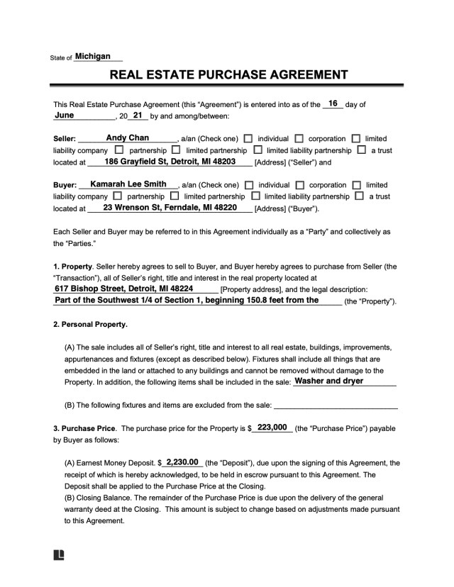 Free Real Estate Purchase Agreement Form & How To Write It  Legal