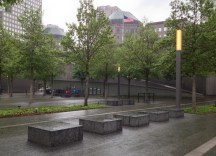 Benches whose design echoes the geometry of the Yamasaki towers.