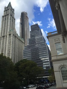 The Woolworth Building and 250 Broadway, with Robert A.M. Stern's residential tower in the background.
