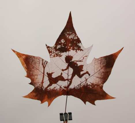 Leaf Carving Playing With Dog