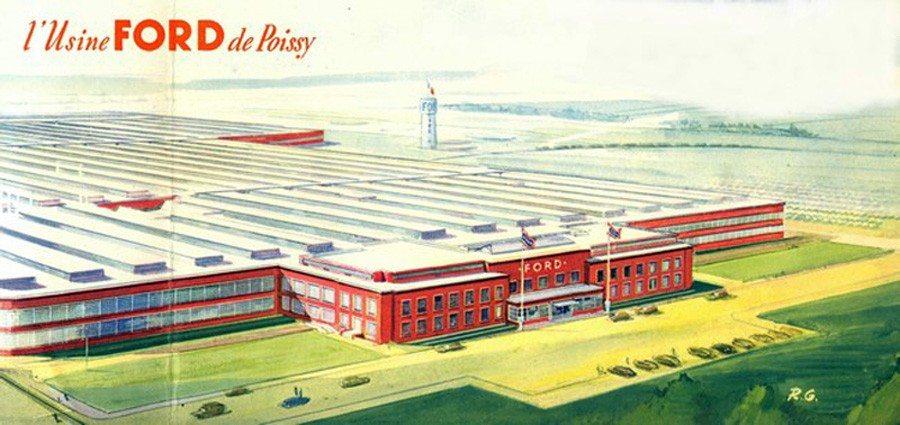 1954 : Simca rachète l'usine Ford France de Poissy et produit la nouvelle gamme Vedette. 1955 : Gamme Simca Vedette (à moteur V8). Trianon, Versailles, Régence Coupé, Comète, Break Marly