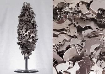 """Rémy Tassou / """"Bing"""" is a totem made of hard disks magnets (90*diam31cm - 30kg)"""