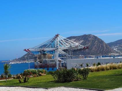 View of cargo handling cranes at Tanger Med