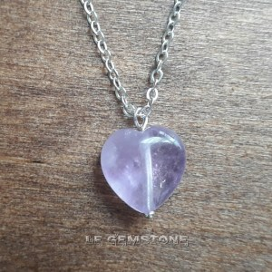 Love Heart Amethyst Pendant Necklace