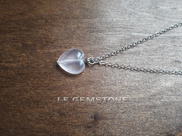Love Heart Rose Quartz Pendant Necklace