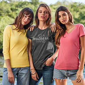 Women with custom printed t-shirts for merchandise