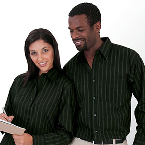 Man and woman with custom embroidered polos and dress shirts