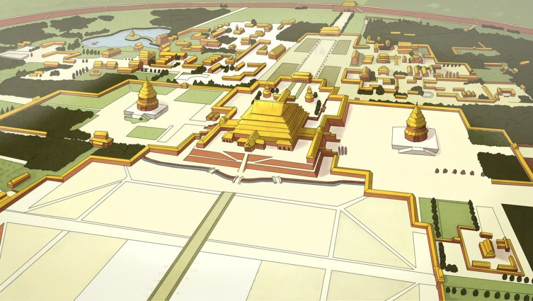 Aerial view of the Ba Sing Se palace and palace complex inside the city of Ba Sing Se.