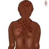 Design of a person's backside with a red flower tattoo along the shoulders and a swirl going up the neck and onto the top of the head.