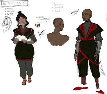 """Design of two people dressed in black and red robes, with the title of """"Red Lotus Lady""""."""