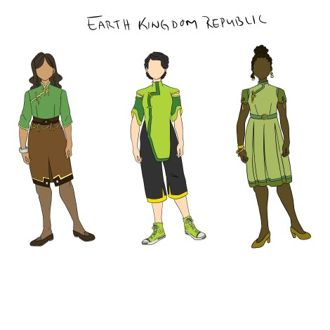 Design of three women with varying skin tones wearing green and brown pants, shirts, and dresses in 1960's style.