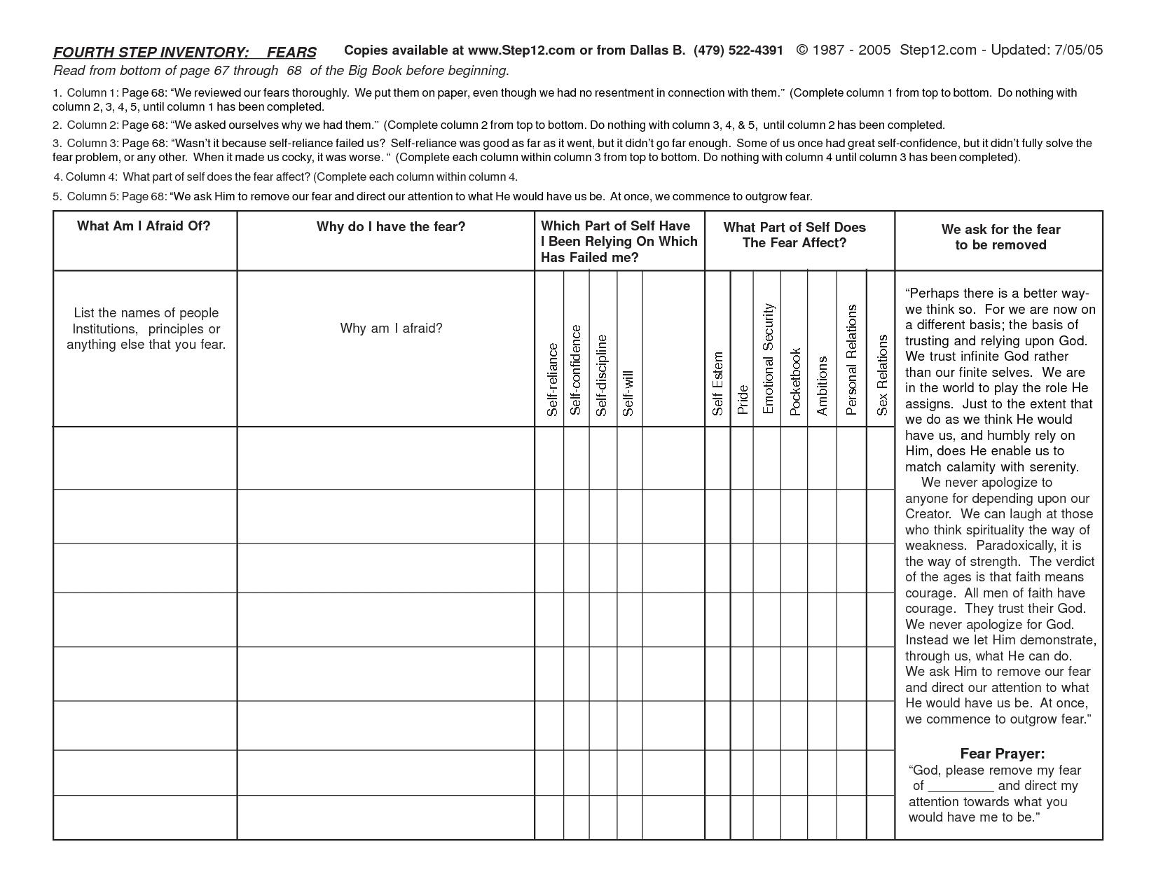 Printable Aa Step 4 Worksheets