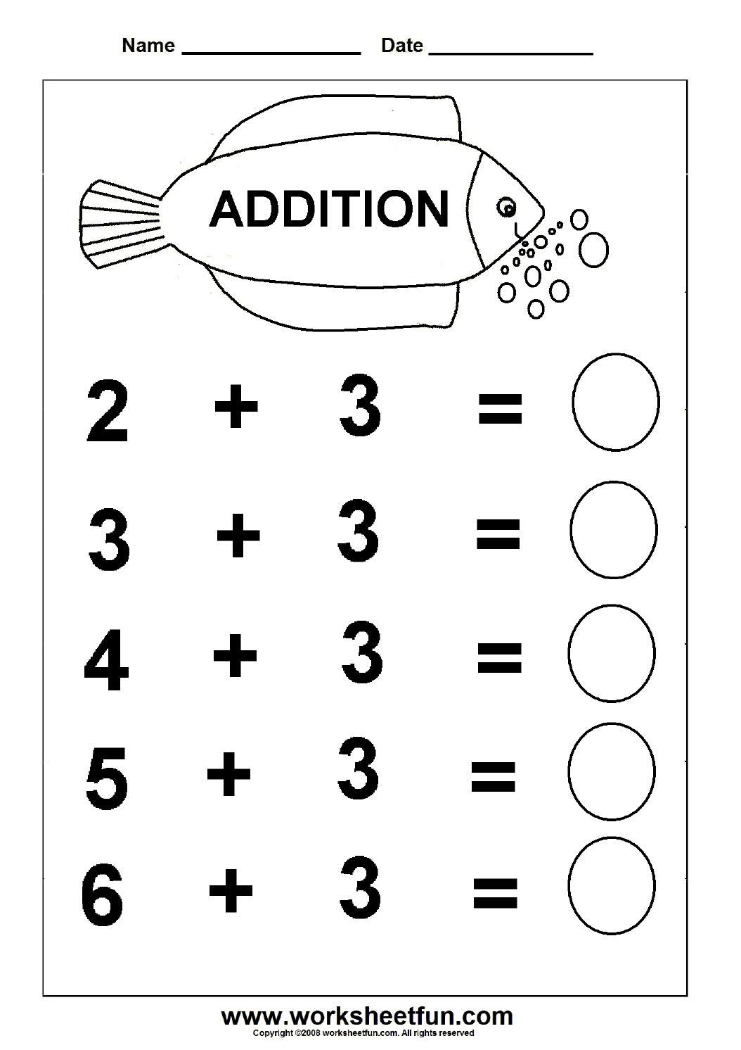 Addition Math Worksheets For Kindergarten