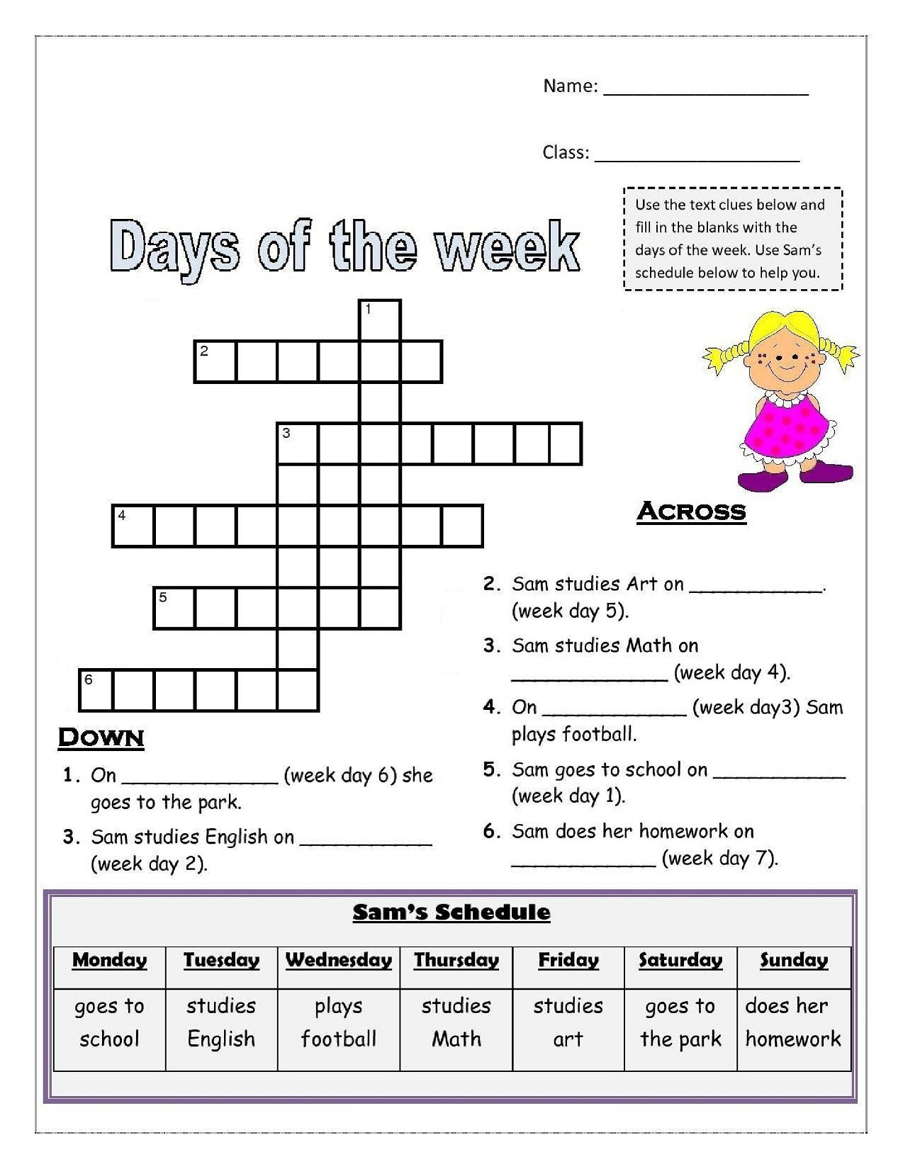 Printable French Worksheets Days Of The Week