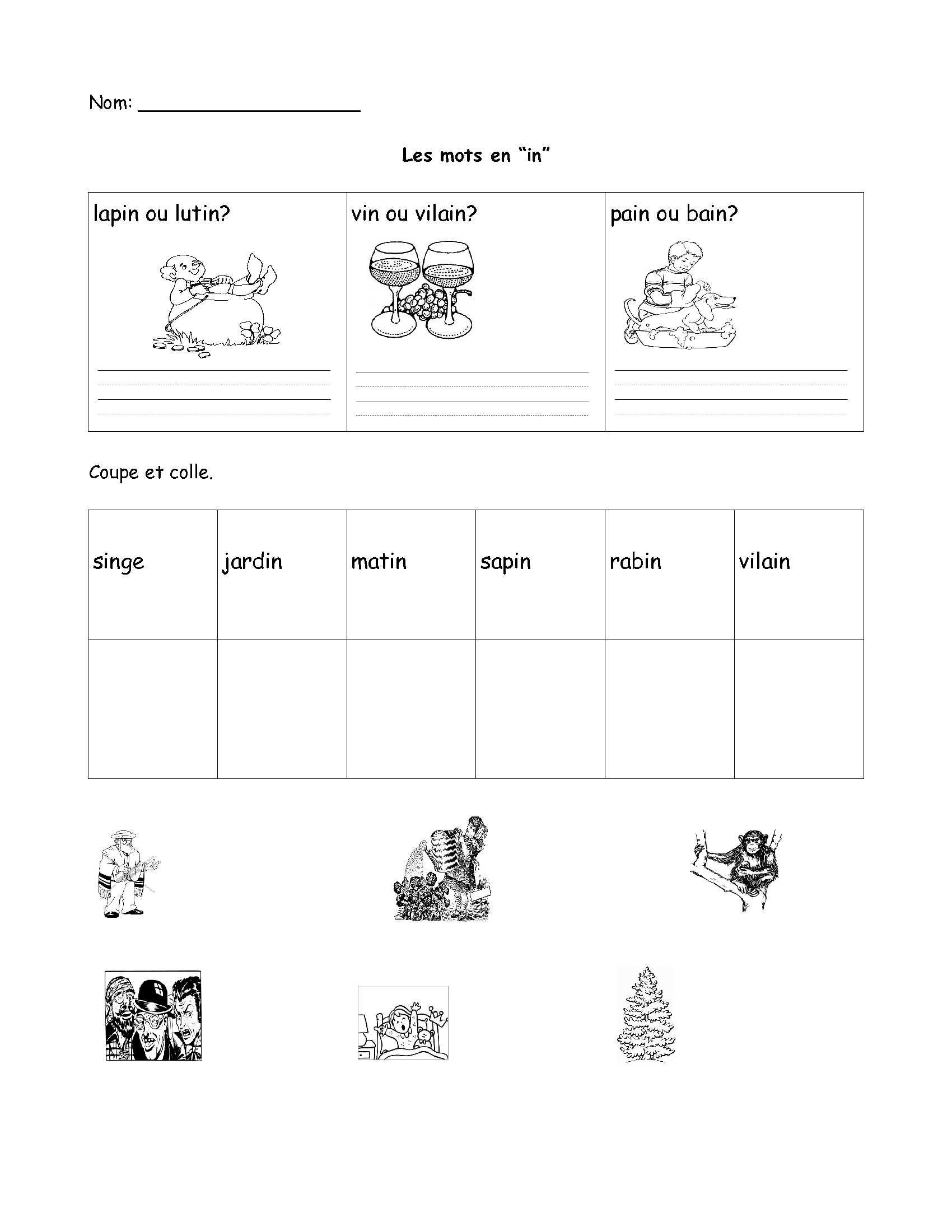 Kindergarten French Colors Worksheet Printable