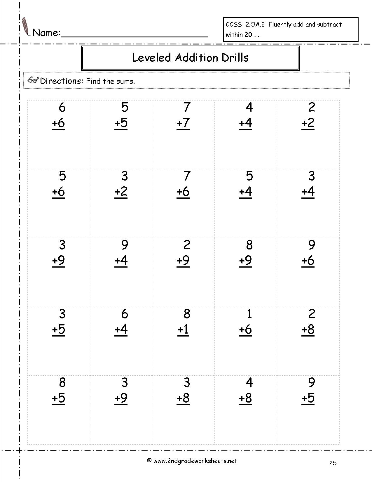 Basic Addition Facts 8 Worksheets Free Printable