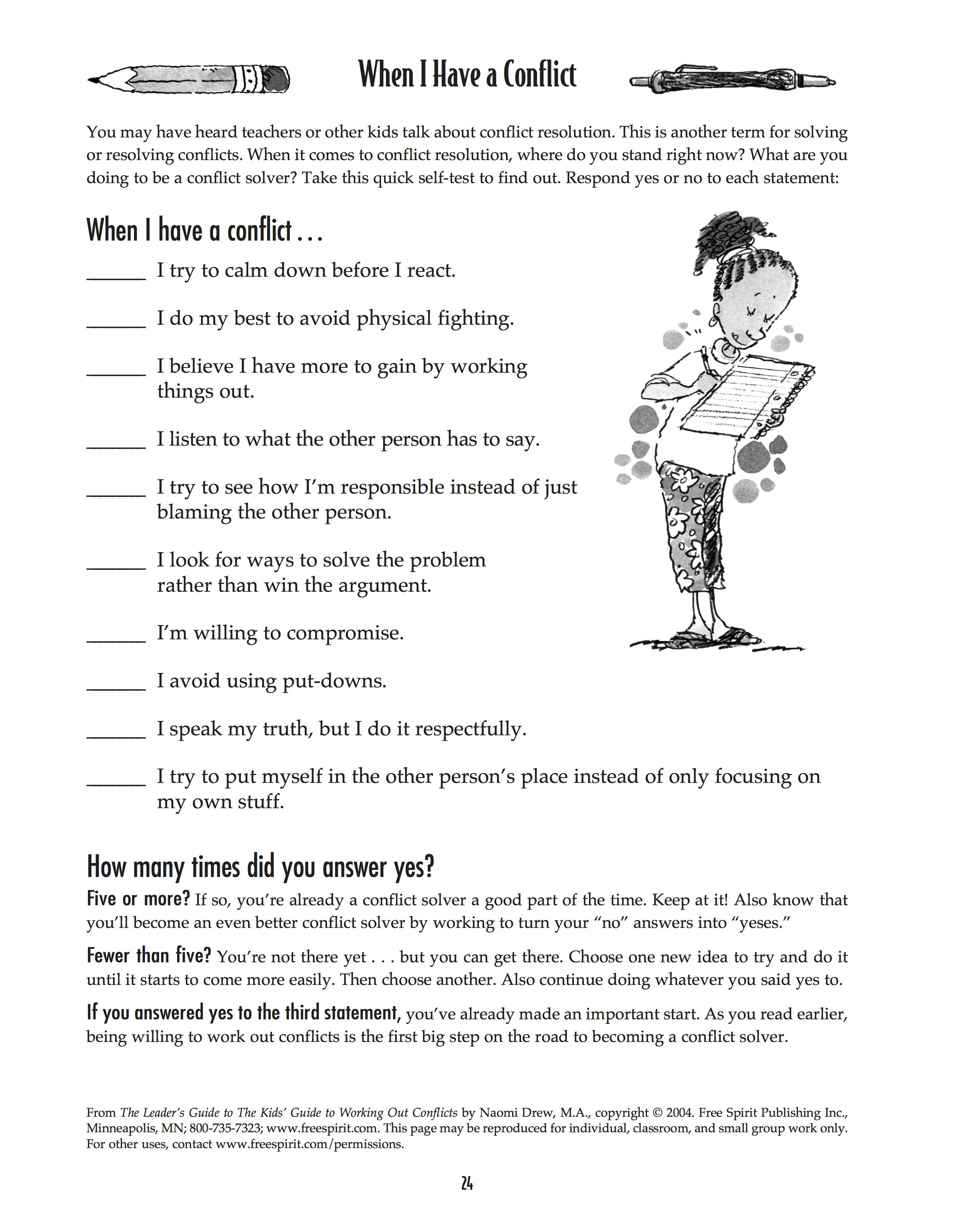Free Printable Self Control Worksheets