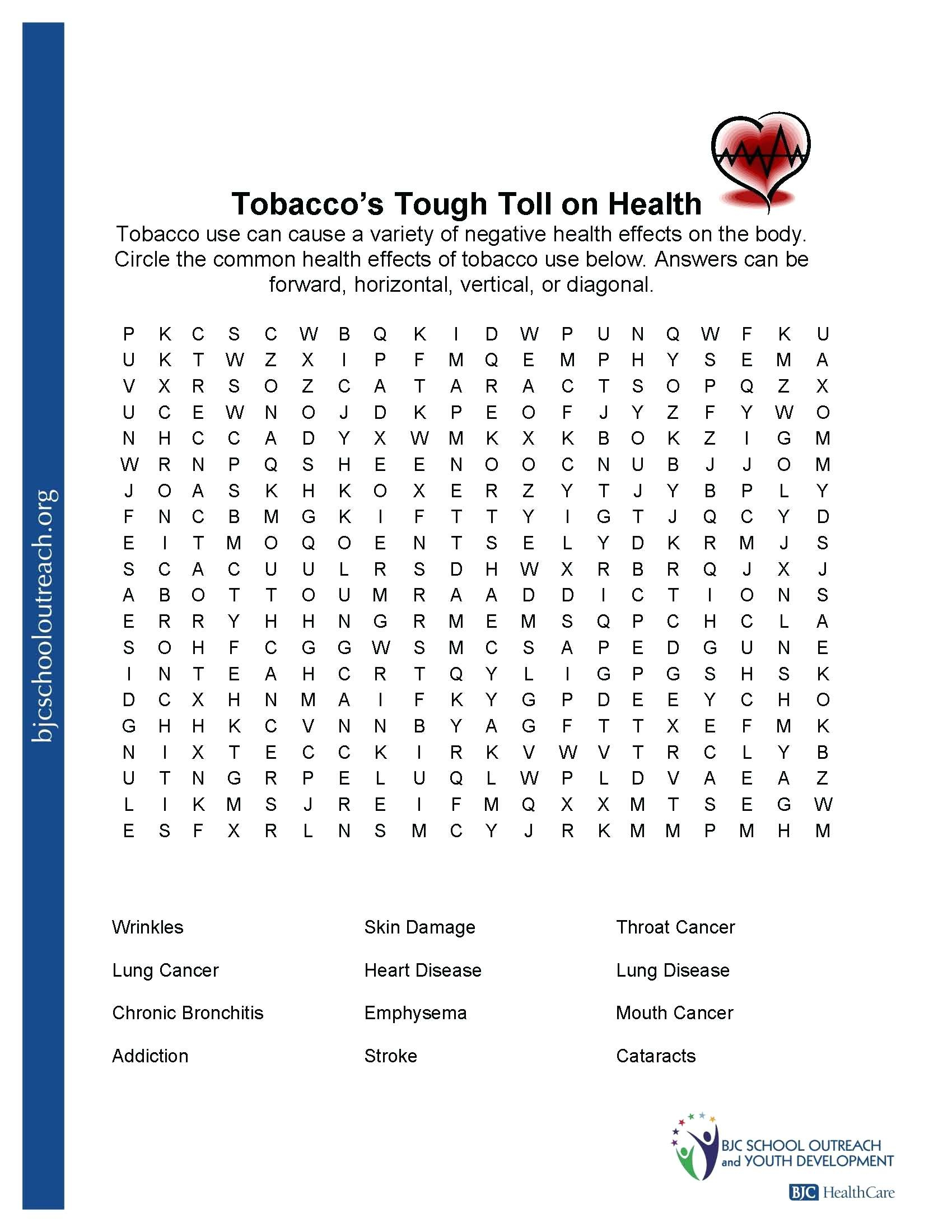 Free Printable Health Worksheets For Middle School