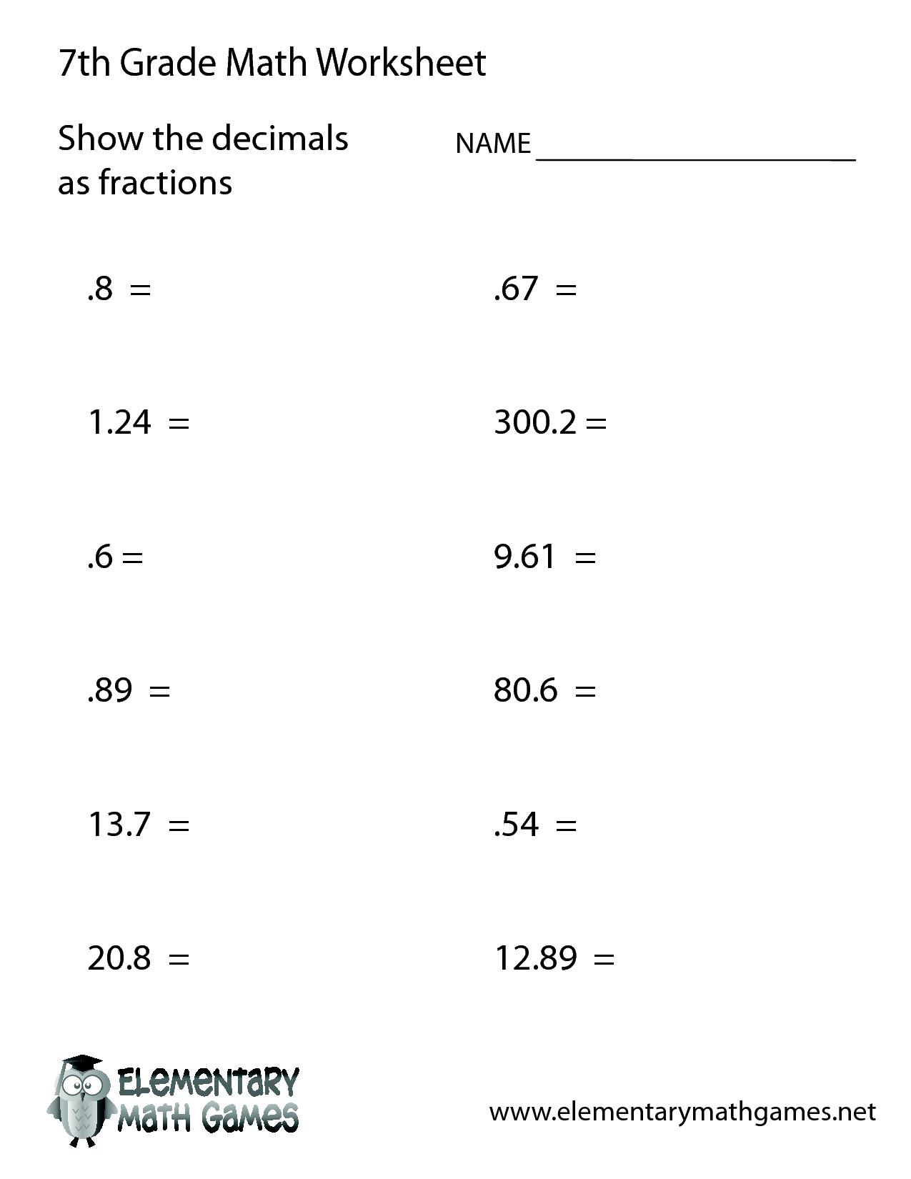 7th Grade Math Worksheets Printable