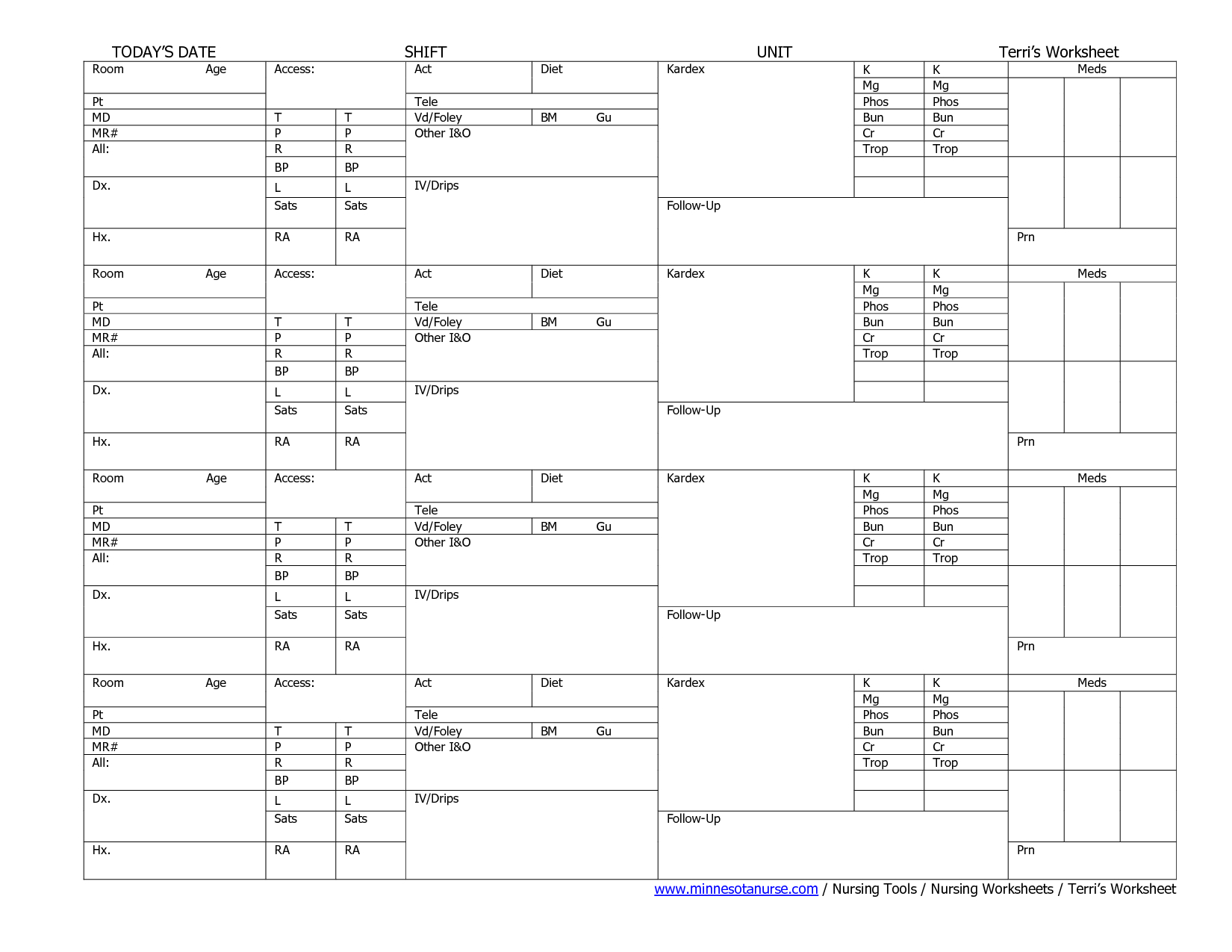 Printable Cna Worksheets