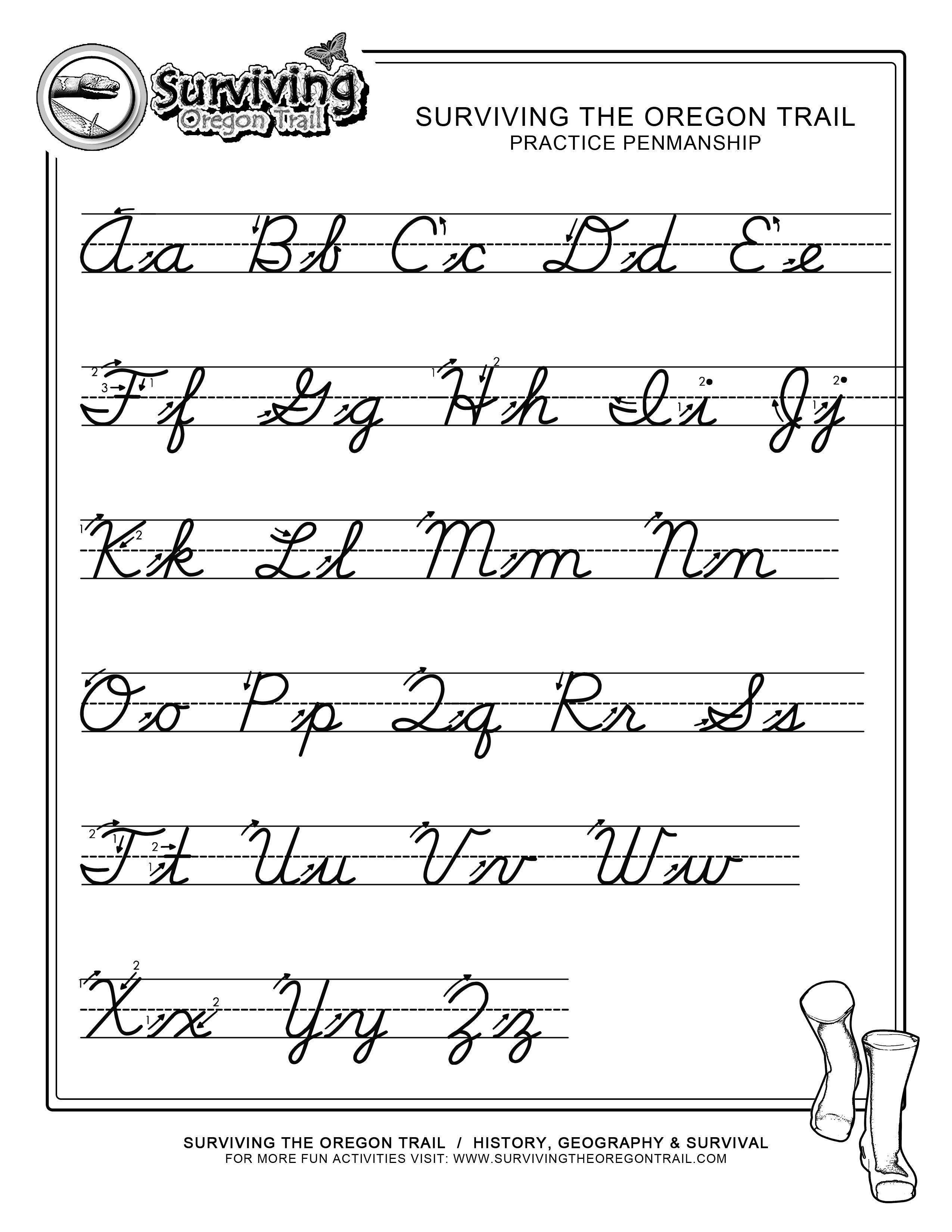 Printable Cursive Writing Worksheets
