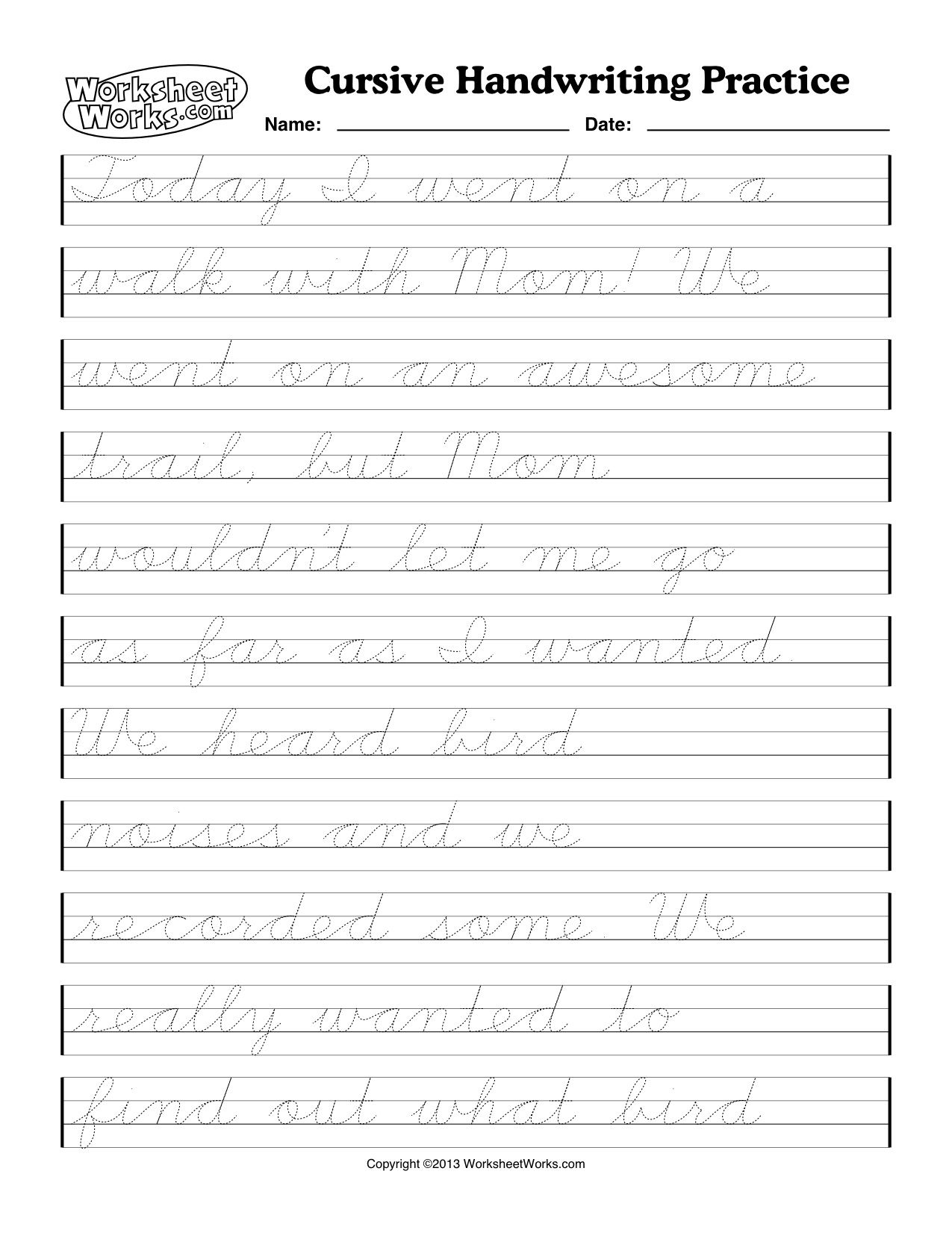 Printable Cursive Handwriting Worksheet Generator