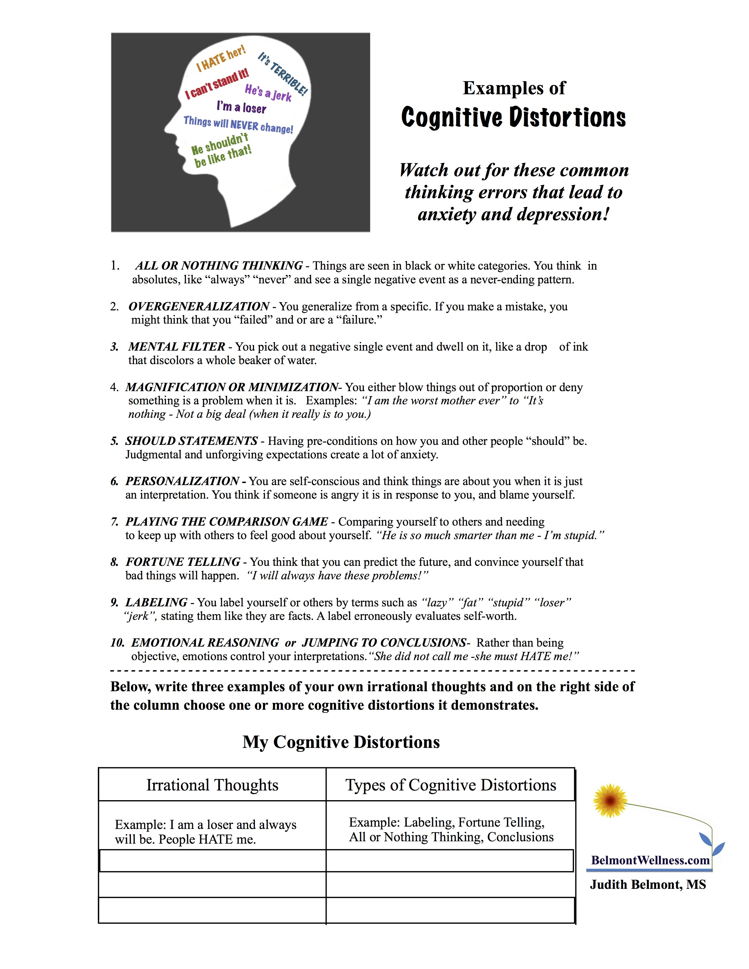 Printable Mental Health Worksheets For Adults