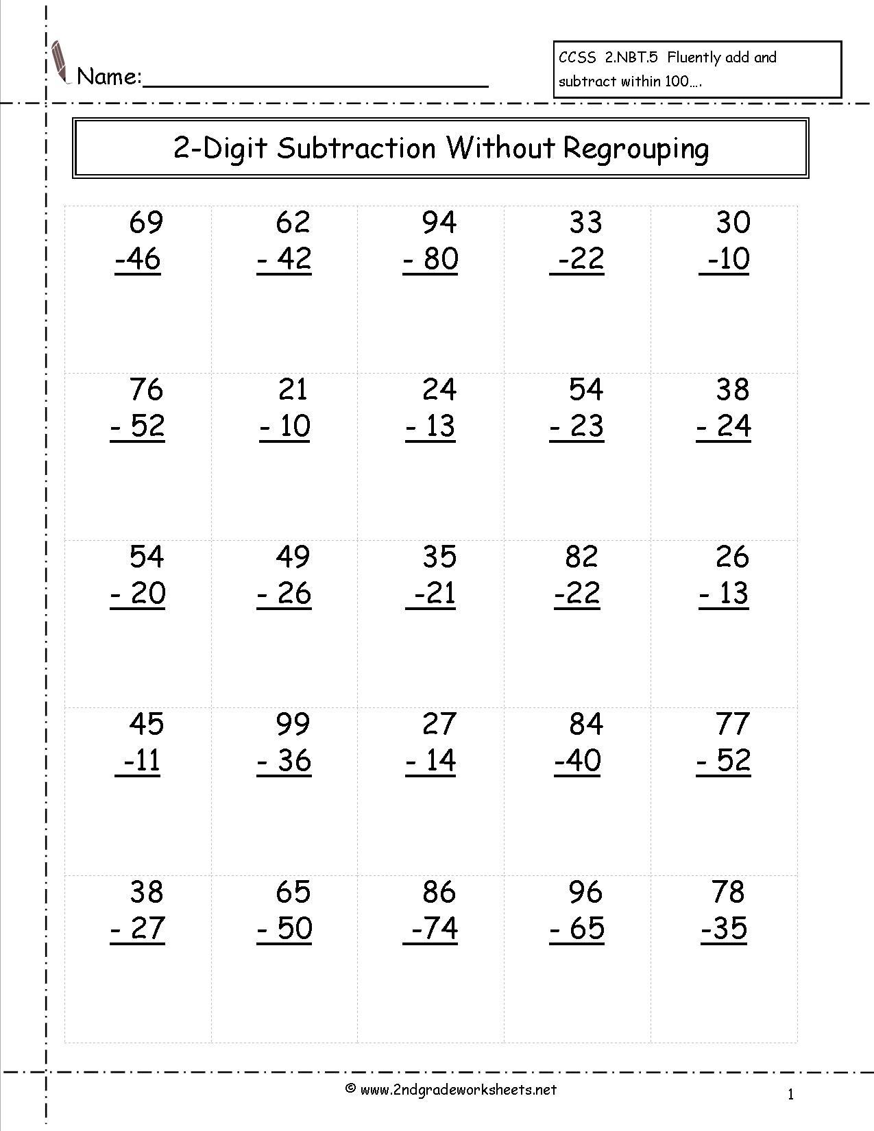 2 Digit Borrow Subtraction Regrouping Beginner