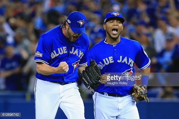 Edwin Encarnacion during the American League Wild Card game at Rogers Centre on October 4, 2016 in Toronto, Canada.(Photo by Vaughn Ridley/Getty Images)