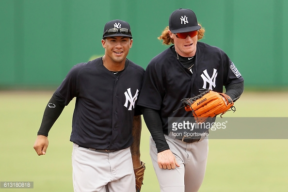 06 OCT 2016: New York Yankees top two prospects Gleyber Torres and Clint Frazier during the Florida Instructional League (FIL) game between the FIL Yankees and the FIL Phillies at Bright House Field in Clearwater, Florida. (Photo by Cliff Welch/Icon Sportswire)