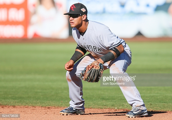 PEORIA, AZ - NOVEMBER 10: - Scottsdale Scorpions Infielder Gleyber Torres (17) (NYY) is pictured during the Arizona Fall League game between the Scottsdale Scorpions and the Peoria Javelinas on Thursday, November 10, 2016 at Peoria Stadium in Peoria, Arizona (Photo by Joshua Sarner/Icon Sportswire)