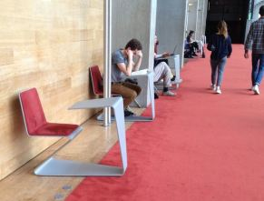 Reading spaces in corridor of French National Library
