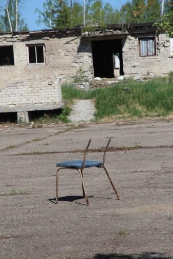 Skrunda-1, Latvia, lone chair