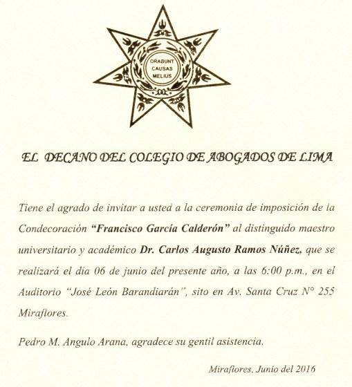 Imponen medalla Francisco Garcia Calderon Landa al profesor Carlos Ramos Nuñez