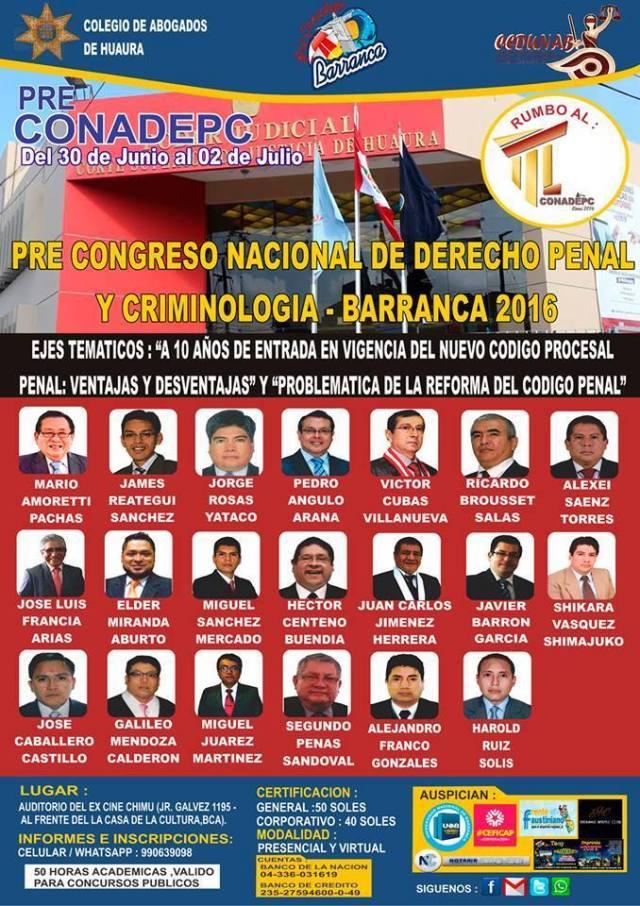 PRECONADEP BARRANCA. Imperdible evento a propósito de los 10 años del Código Procesal Penal en Huaura. Inscripciones al celular 990639098.