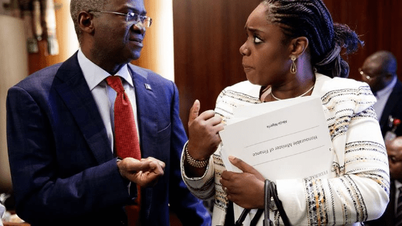 One Word For This Photo of Babatunde Fashola and Kemi Adeosun