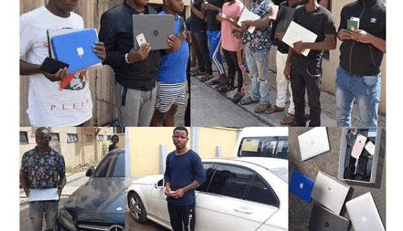 Photos Of Internet fraudsters arrested in Abuja