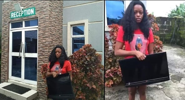 Pretty Lady caught stealing plasma TV from a Hotel in Delta State