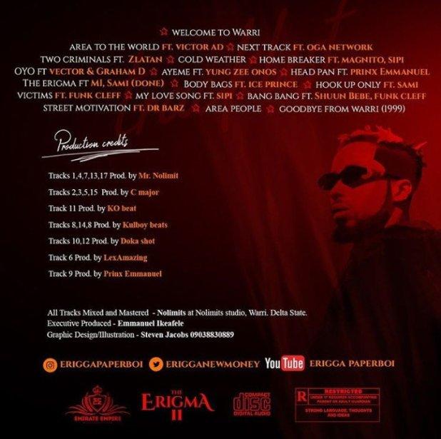 Erigga Enigma II album tracklist