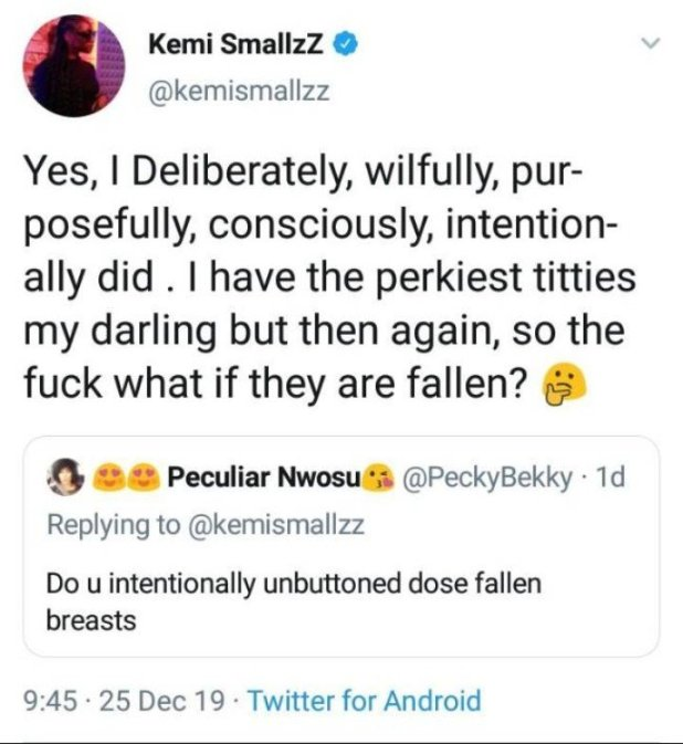Why Show Off Your Fallen Br$asts? – Lady Body Shames OAP Kemi Smallz