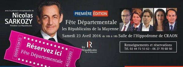 Le flyer de la Fête annonçant la venue de Sarkozy sur Facebook