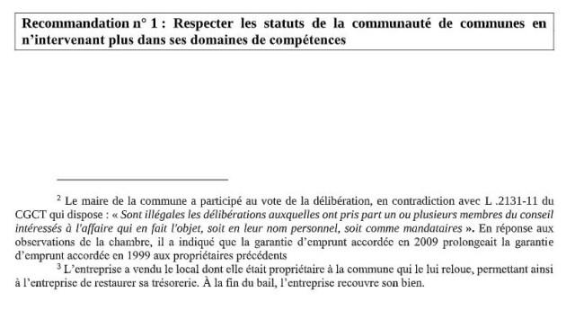 Photo des notes de bas de la Page 8 du rapport - © leglob-journal