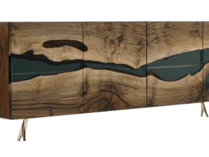 Transparent Resin Credenza Walnut