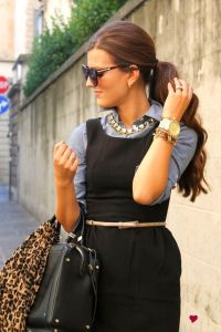 black sheath dress with chambray