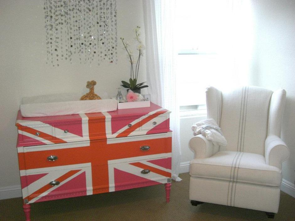 pink union jack dresser in nursery