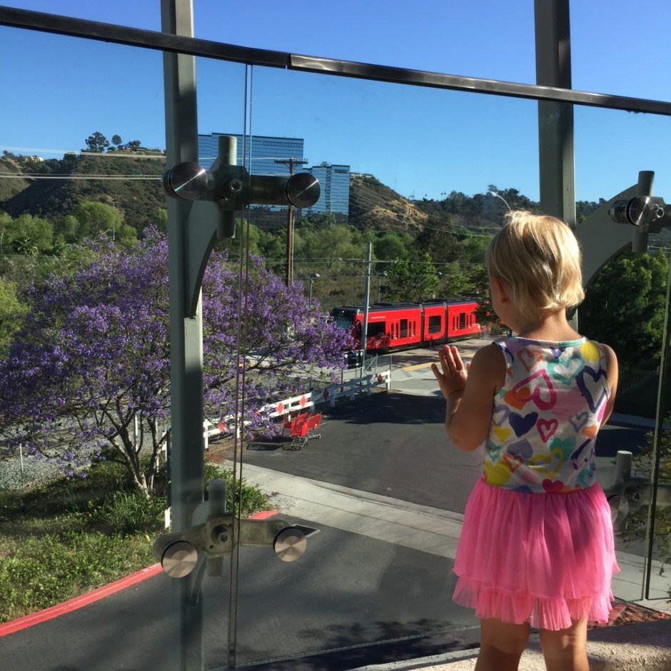 watching trolley at mission valley library