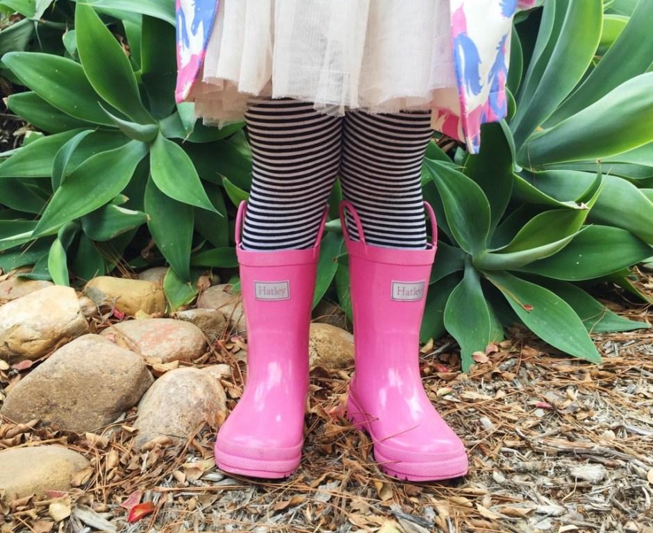 girls pink hatley rainboots with pony jacket