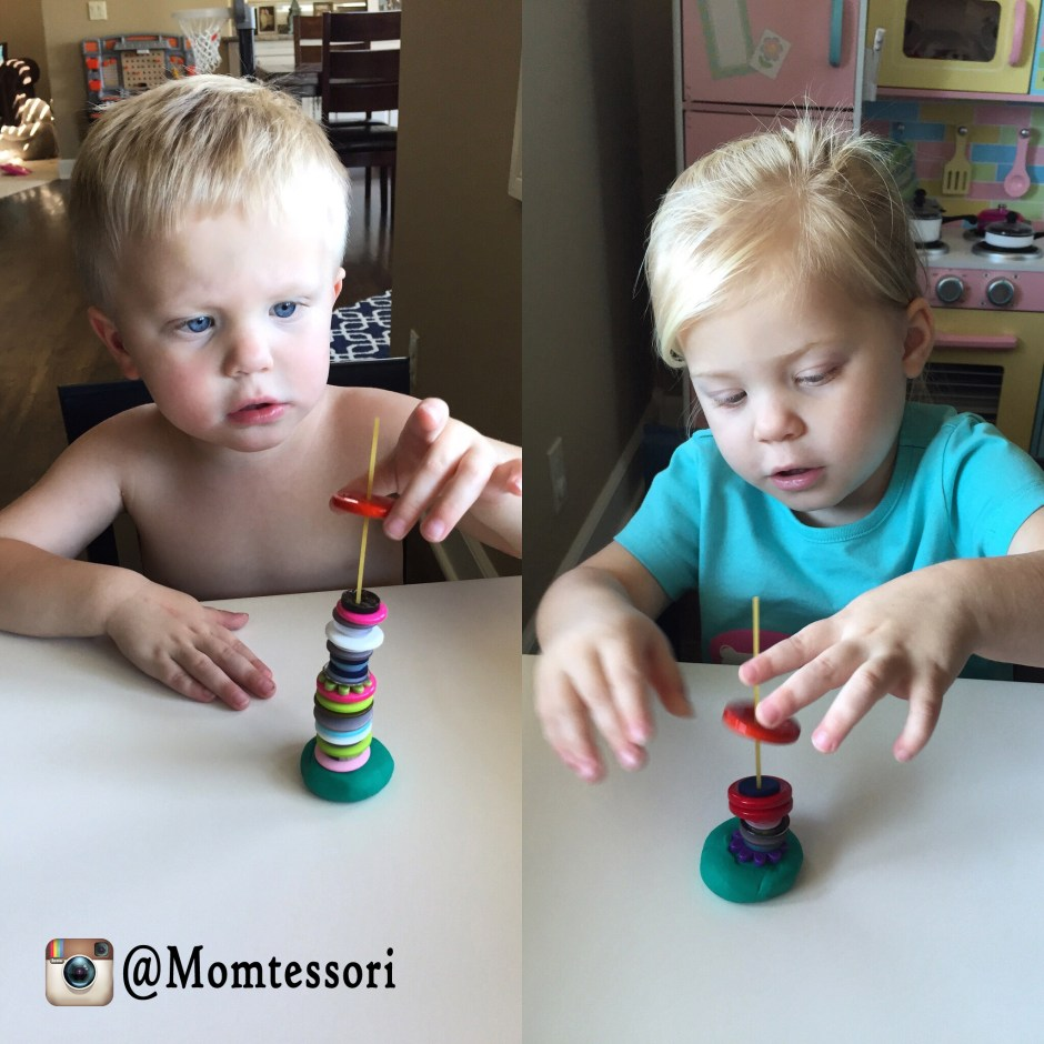 montessori button stacking